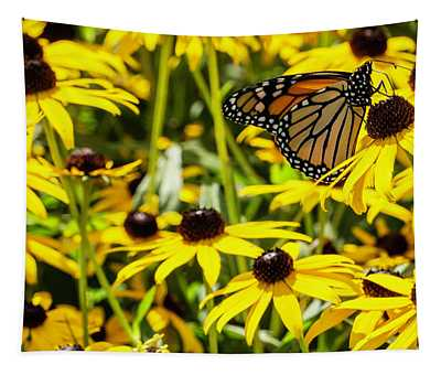 Monarch Butterfly On Yellow Flowers Tapestry
