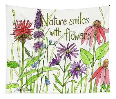 Nature Smile With Flowers Tapestry
