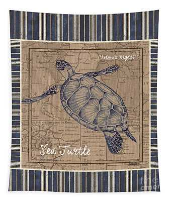 Nautical Stripes Sea Turtle Tapestry
