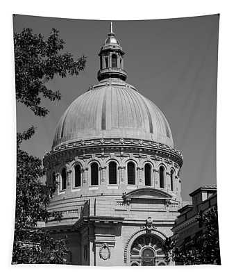 Naval Academy Chapel - Black And White Tapestry