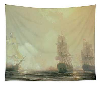 Naval Battle In Chesapeake Bay Tapestry