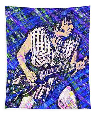 Tapestry featuring the digital art Neil Young Barcelona 2007 by Joy McKenzie