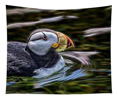 Neon Puffin Tapestry