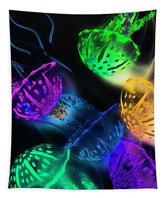 Neon Sea Life Tapestry