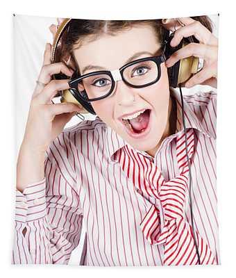 Nerdy Retro Schoolgirl Raving To Music On White Tapestry