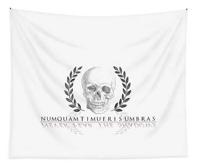 Never Fear The Shadows Stoic Skull With Laurels Tapestry