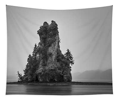 New Eddystone Rock, Misty Fjords National Monument In The Rain, Black And White Version By Kathryn Tapestry