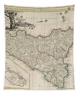 New Map Of Sicily Tapestry