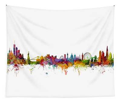 New York And London Skyline Mashup Tapestry