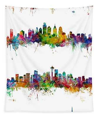 New York, Philadelphia, Seattle And San Francisco Skylines Tapestry