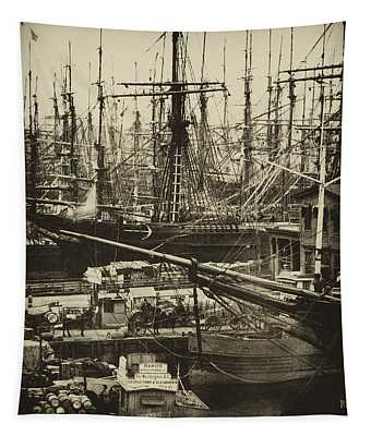 New York City Docks - 1800s Tapestry