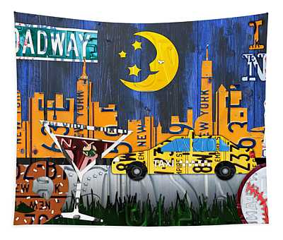 New York City Nyc The Big Apple License Plate Art Collage No 1 Tapestry