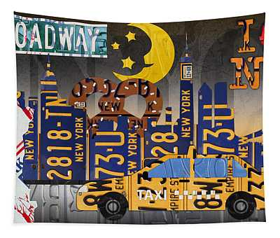 New York City Taxi Mixed Media Wall Tapestries