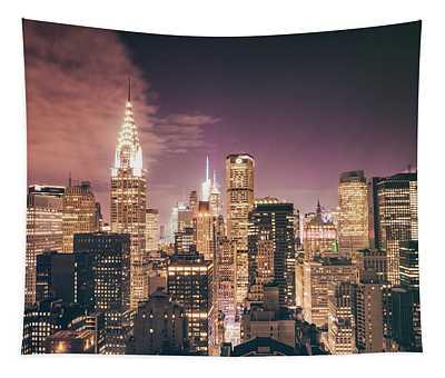 New York City Skyline - Night Tapestry