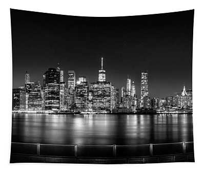 New York City Skyline Panorama At Night Bw Tapestry