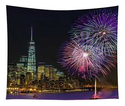 New York City Summer Fireworks Tapestry