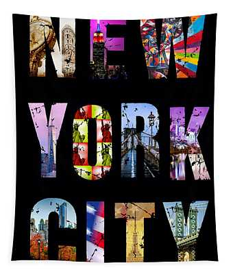 New York City Text On Black Tapestry
