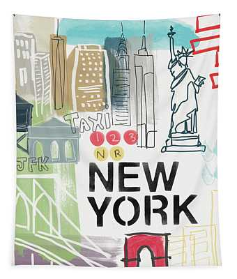 New York Cityscape- Art By Linda Woods Tapestry