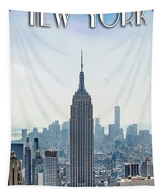 New York Classic View With Text Tapestry