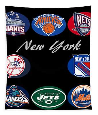 New York Professional Sport Teams Collage  Tapestry