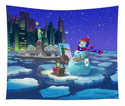 It's Christmas Time In The City Tapestry