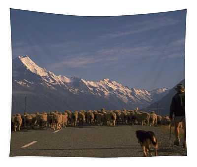 Tapestry featuring the photograph New Zealand Mt Cook by Travel Pics