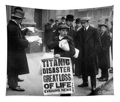 Newsboy Ned Parfett Announcing The Sinking Of The Titanic Tapestry