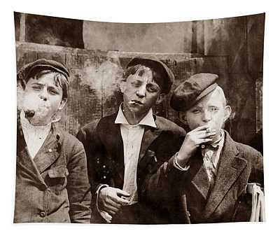 Newsboys Smoking - 1910 Child Labor Photo Tapestry