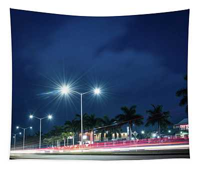 Night Lights In Montego Bay City Tapestry