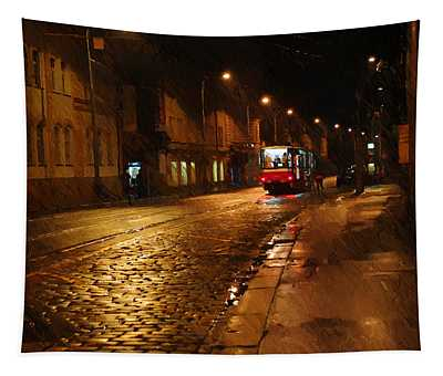 Night Tram In Prague Tapestry
