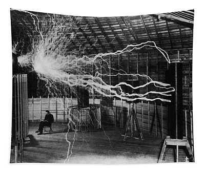 Nikola Tesla - Bolts Of Electricity Tapestry