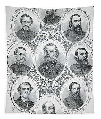 Nine Portraits Of Prominent Generals Of Confederate Army Tapestry