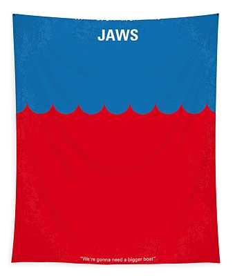 No046 My Jaws Minimal Movie Poster Tapestry