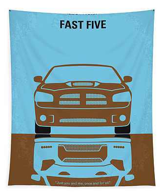 No207-5 My Fast Five Minimal Movie Poster Tapestry