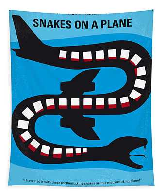 No501 My Snakes On A Plane Minimal Movie Poster Tapestry