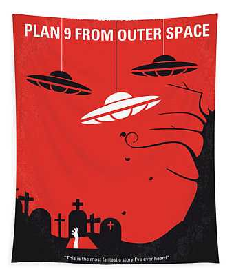 No518 My Plan 9 From Outer Space Minimal Movie Poster Tapestry