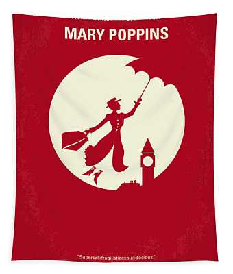 No539 My Mary Poppins Minimal Movie Poster Tapestry