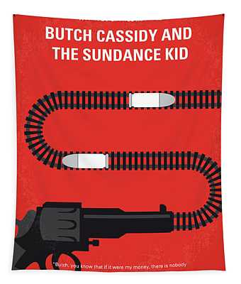 No585 My Butch Cassidy And The Sundance Kid Minimal Movie Poster Tapestry
