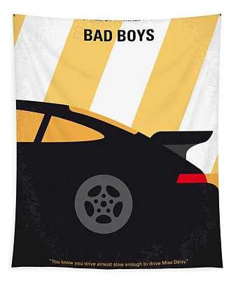 No627 My Bad Boys Minimal Movie Poster Tapestry