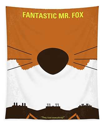 No673 My Fantastic Mr Fox Minimal Movie Poster Tapestry