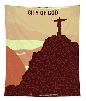 No716 My City Of God Minimal Movie Poster Tapestry