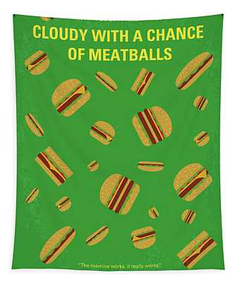 No778 My Cloudy With A Chance Of Meatballs Minimal Movie Poster Tapestry