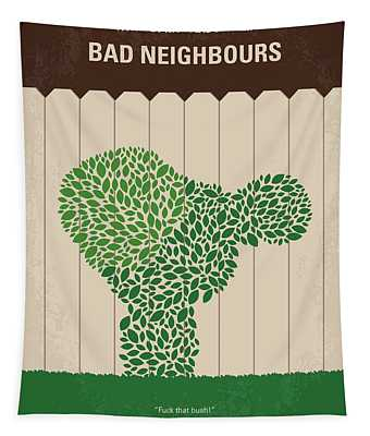 No840 My Bad Neighbours Minimal Movie Poster Tapestry