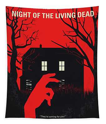 No935 My Night Of The Living Dead Minimal Movie Poster Tapestry