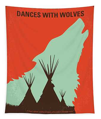 No949 My Dances With Wolves Minimal Movie Poster Tapestry