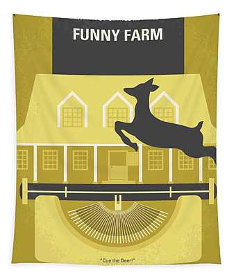 No959 My Funny Farm Minimal Movie Poster Tapestry