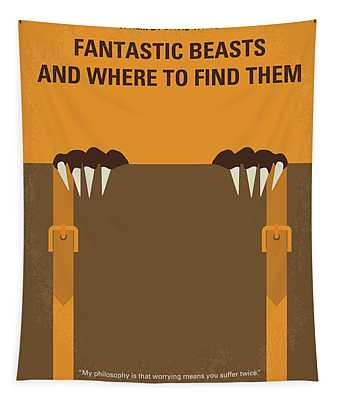No962 My Fantastic Beasts And Where To Find Them Minimal Movie Poster Tapestry