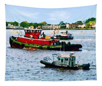 Norfolk Va - Police Boat And Two Tugboats Tapestry