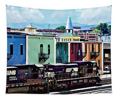 Norfolk Va - Train With Two Locomotives Tapestry