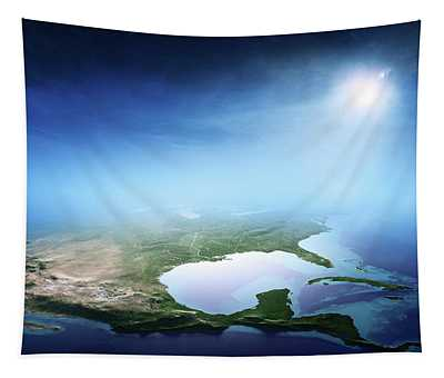 North America Sunrise Aerial View Tapestry
